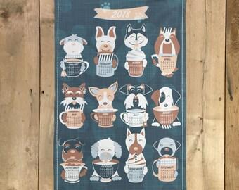 Tea Towel, 2018 Calendar, Dog illustration, Tea Time Gift, Linen Cotton Tea Towel, Home Essentials, Gift for Dog Lovers, Doggies with mugs