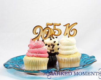 Number Cupcake Toppers ANY NUMBER Cupcake Picks for Anniversary Birthday Sweet Sixteen 16 First Birthday 100th Birthday 75th 40th 30th 21st