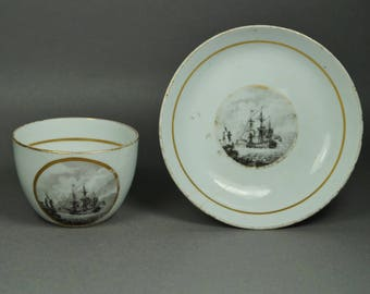 Rare, Early 19th Century Porcelain Cup And Saucer, Sailing Ship, Factory Z, Thomas Wolfe Bat Printed Naval Maritime Marine
