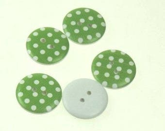 5 x Large 25mm Green Spotty Wooden Buttons Sewing/Craft/Jewellery/Cards
