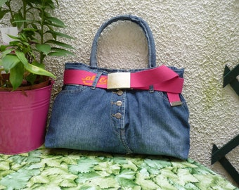 """Rica lewis"" handbag recycled denim and pink belt"
