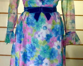 Vintage 60's 70's Floral Velvet Bow Jackie O Ruffle Full Length Hostess Dress Party Hostess S/M