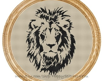 Cross Stitch Pattern PDF lion silhouette DD0158