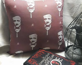 """Edgar Allan Poe Pillow - Raven's Nevermore Or Alone 17"""" Sqaure"""