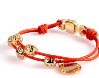 ART13 Orange Leather Bracelet with Gold Beads