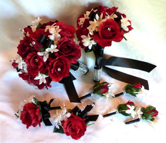 Red rose bouquet red white black wedding bouquet and mightylinksfo