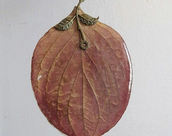 Necklace Oval Leaf, Pendant with natural leaf, Jewelry, Gift for Her