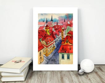 Prague Print, Art Print, Prague Poster, Watercolor Prague, Prague Skyline, Prague Wall Art, Prague Artwork, Prague Painting, Prague Art