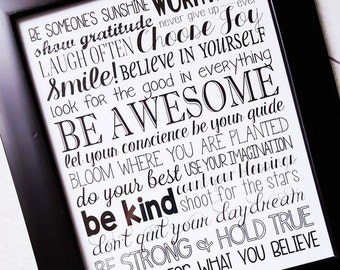 BE AWESOME Subway Art, Positive Thinking and Encouragement Sign - Printable Instant Download