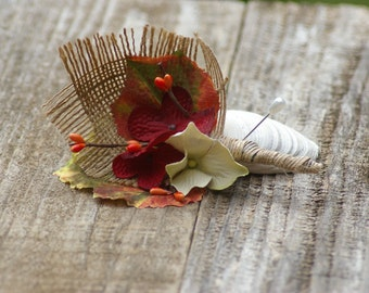 Autumn Fall Leaf Boutonniere with burlap