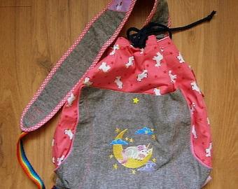 Einhorn Liebe, Beach Bag, Tasche für Kinder, Rucksack,pink, Einhörner, Regenbogen,Crossbody Bag, handgefertigt