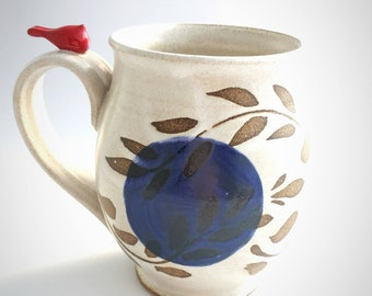 Handmade Stoneware Woodland Inspired Mug in White and Cobalt with a Red Bird