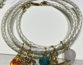 Wrap Bracelet-Triple Charm Wrap Cord Bracelet-Summer Bracelet-Beach-Nature Lover-Flying Brass Bird Charm-White Bolo Leather-Gold Charms-Boho