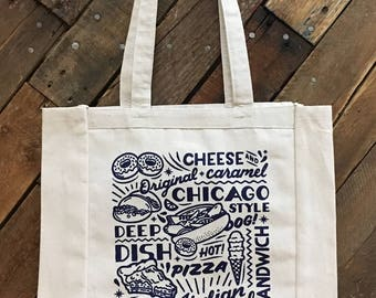 Chicago Sign cotton canvas tote bag. Popular Chicago Foods, hot dog, deep dish pizza, Midwest, market eco-friendly bag