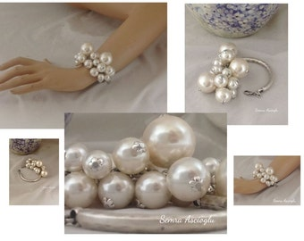 Pearl Christmas Gift, pearl bracelet chunky pearl bracelet for brides, bridesmaids gift