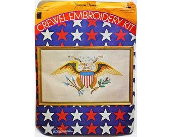 Vintage Crewel Embroidery Kit, Pauline Denham Kit, Linen, Wool, American Eagle Picture, Patriotic, USA, Americana