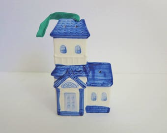 Vintage House Shaped Scent Holder - Blue & White Ceramic House Pomander Potpourri Holder - Made by Counterpoint in Japan