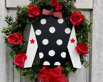 Kentucky Derby wreath, horse racing decor, horse lover wreath, jockey silk wreath, wood, boxwood, spring, wreath with jockey silk
