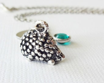Tiny Hedgehog Necklace 3D Hedgehog Charm Porcupine Animal Jewelry Swarovski Birthstone Silver Initial Personalized Monogram Hand Stamped