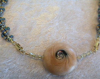 SALE  Artist Polymer Clay Bead and French Blue and Sand  Seed Bead Necklace - Swirls in Sand