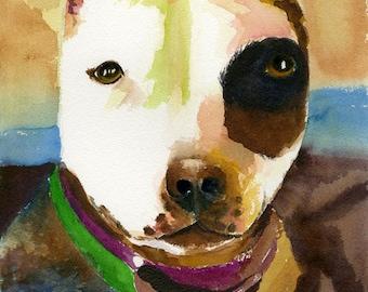 pit bull art,pit bull,terrier, terrier art, pit bull watercolor, pit bull print,pitbull