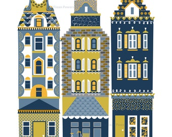 Large Scandinavian houses giclée print in a limited edition of 100.
