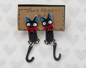 Kiki's Delivery Service Inspired Black Jiji Cat Clinging Faux Gauge Earrings