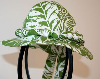Recycled Green Floral Cotton Baby Bonnet Size 3 to 6 months