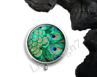 Peacock Feather Pill Box,Peacock Pill Case,Trinket Box Storage,Medical Pills Storage,Pill Container,Jewelry Box,Gift for Her,Peacock Box