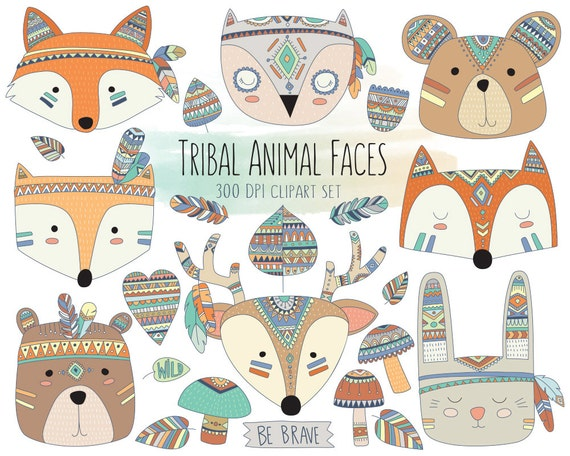 tribal animal faces clipart cute clip art woodland clipart rh etsy com cute animal clipart images cute farm animal clipart