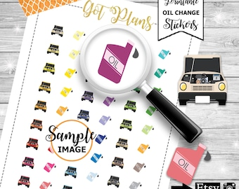 Oil Change Planner Stickers, Printable Oil Change Stickers, Car Oil Stickers, Printable Car Oil Stickers