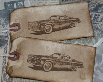 1956 Ford Thunderbird distressed Gift Tags