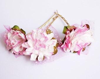 Bridal Hair Accessories, Pink White flower Hair Bobby Pin, Brass Bobby pin- set 6
