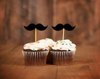 Mustache Cupcake Toppers - Mustache Baby Shower Decor - Little Man Party Decor - Mustache Party
