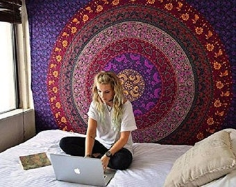 Handmade Mandala Tapestry Wall Hanging Bedroom Wall Decor Block Printed Bedspread Art