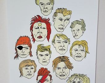 David Bowie print. Bowie Illustration. Labyrinth.Alladin Sane.Hunky Dory.Ziggy stardust.