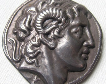 Vintage silver Alexander the great as Zeus Ammon Brooch
