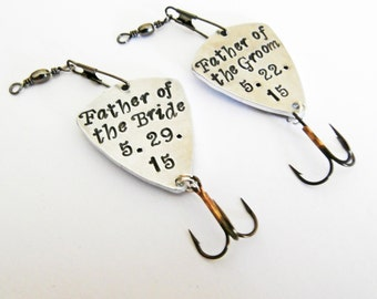 Father of the Bride Father of the Groom Set of Two personalized fishing lures, wedding favors, set of 2, mens gift, handstamped lure for him