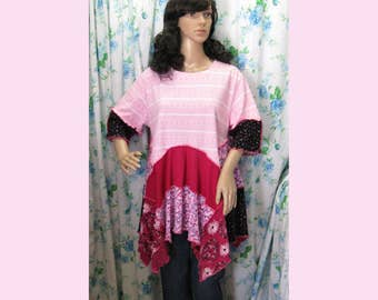 """Dream Pink knit Tunic, up to 44"""" Bust, Junk Gypsy Style , Repurposed EcoFriendly, Hippie, Altered Couture Eclectic Tunic, Lagenlook, Q367"""