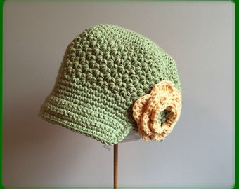 RTS in a size 2-4 yrs Sage, Country Yellow Cotton Hat Crocheted Beanie Hat  Lid Cap