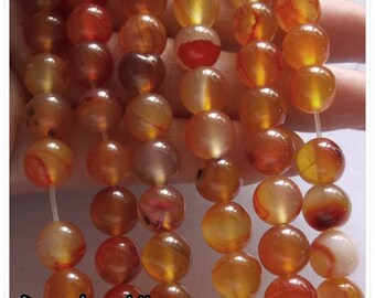 10pc - 8mm orange agate bead / clear 8 mm bead semi precious stone seed 8mm