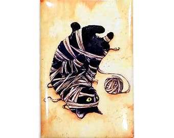 Mummy Kitten Magnet: Watercolour Black Cat
