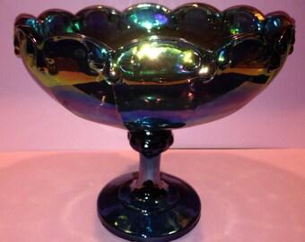 Vintage, Teal/Iridescent, glass pedestal bowl
