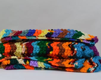 Fabulous Large Stripe Afghan Rainbow of Color Hand Made Crochet Throw Large Size Afghan with 3D Knot Texture 56 X 106