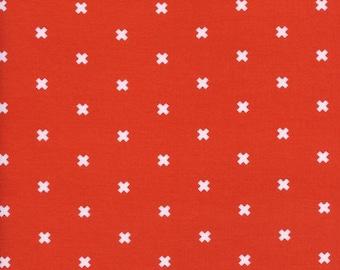 Orange Fabric, Coral Quilting Cotton, Orange Blender, Cotton and Steel Basics - XOXO - Clementine Coral Orange - By the Half yard