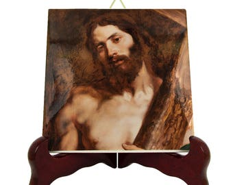 Jesus Christ carrying the Cross - religious icon on tile - christian gifts - Jesus art - catholic art - holy art