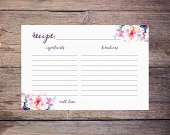 Printable Flower Watercolor Bridal Shower Recipe Cards - DIY - Print at Home Digital File