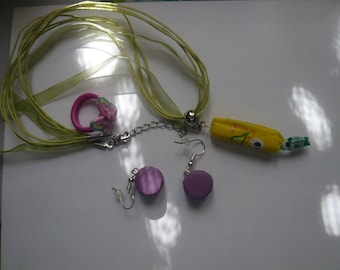 3 jewelry collection of clay polymer + gift