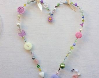 Springtime / Easter heart decoration. Handmade beaded hanging heart wreath, shabby chic home decor, boho home decor.