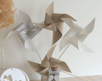 Set of 10 pinwheels wind color white silver kraft 15cm